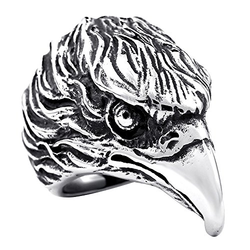 ZMY Mens Fashion Jewelry Rings, 316L Stainless Steel Eagles Head Design Animal Ring for Men (13)