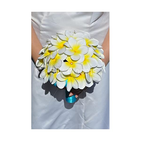 Gorgeous Artificial Fresh Touch Ivory and Yellow Centred Frangipani Bridal Bouquet