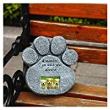 ZTSS Paw Print Pet Memorial Stone with 2''X3'' Photo Frame and Sympathy Poem, Paw Shaped Headstone Indoor Outdoor Dog or Cat for Garden Backyard Marker Grave Tombstone (Paw Print)