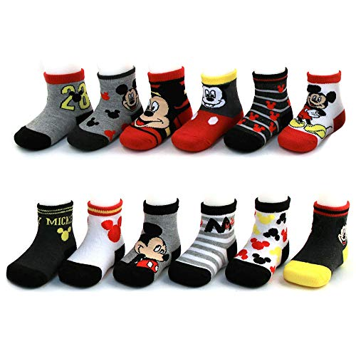 Disney Baby Boys Mickey Mouse Assorted Color Design 12 Pair Socks Set, Age 0-24 Months (6-12 Months, Black-Grey-Red Collection)]()
