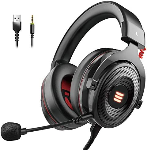 EKSA E900 USB Gaming Headset-Xbox One Headset7.1 Surround Sound PS4 Headset Noise Cancelling HeadsetMic&LED Light CompatiblePC PS4 Xbox One Controller Nintendo Switch
