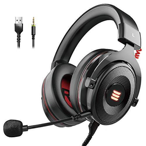 EKSA E900 Gaming Headset Xbox One Headset with 7.1 Surround Sound, PS4 Headset Noise Cancelling Over Ear Headphones with Mic&LED Light, Compatible with PC, PS4, Xbox One Controller, Nintendo Switch (Best Surround Sound System For Gaming)