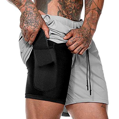 Wadonerful Men Quick-Drying Breathable Running Training Double-Layer Fitness Short Pants Workout Jersey Shorts Zipper Pocket Gray ()