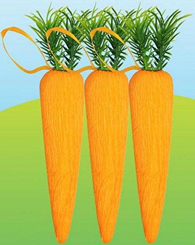 3 Artificial Carrot Easter Hanging Decoration Vegetables Party Spring Egg Hunt Craft Bunny Tree Garden Concept4u
