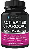 Pure Activated Charcoal Capsules - 600mg per Capsule, 90 Veggie Cap Pills Used for Gas, Bloating, Teeth Whitening and More
