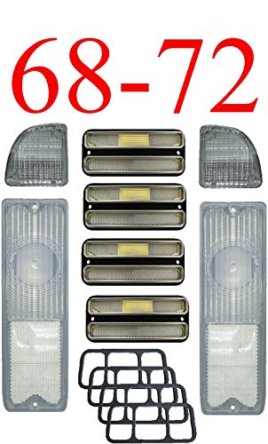 68-72 Chevy 8Pc All Clear Tail & Side Light Kit Deluxe 68 Tail Light Panel