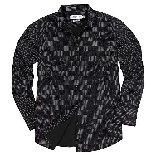 - Urban Boundaries Womens Basic Tailored Long Sleeve Cotton Button Down Shirt (Black/White Dots, Medium)