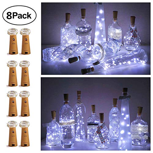 8 Pack 20 LED Wine Bottle Cork Lights, Fairy Mini String Lights Copper Wire, Battery Operated Starry Lights for DIY, Christmas, Halloween, Wedding, Party, Indoor&Outdoor (Cool White)