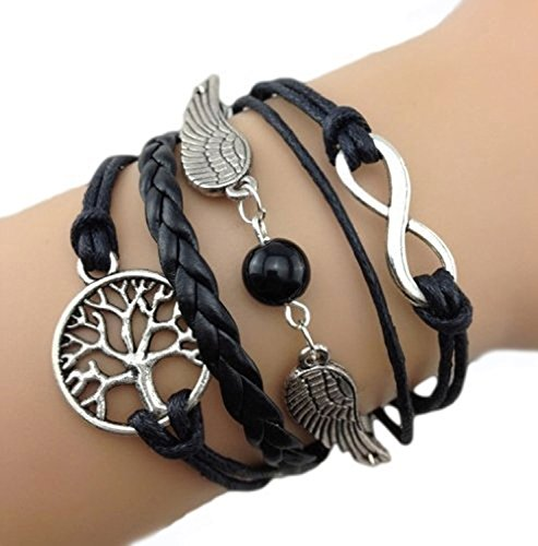 Bracelet noir arbre de vie ailes d'ange perle et lien infini