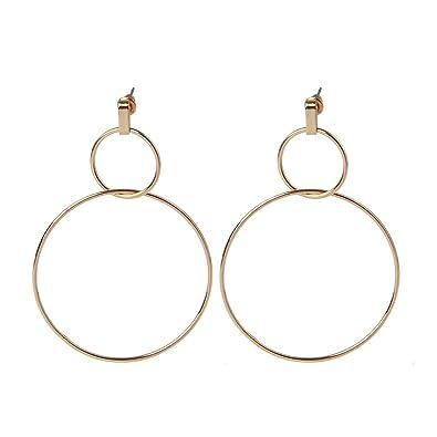 f6d26aa282d88 Lunji Large Hoop Geometric Dangle Drop Earrings, Double Round Circle ...