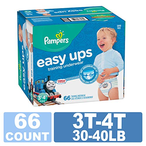 Pampers EasyUps Training Pants Pull On Disposable Diapers for Boys, 3T-4T, 66 Count, SUPER PACK
