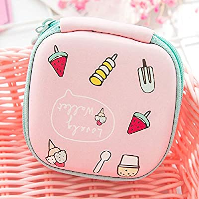 Gold Happy Lovely Mini Round Fruit Ice Cream Key Box Case Coin Bag for Earphone Headphone SD TF Cards Storage Purse Organizer