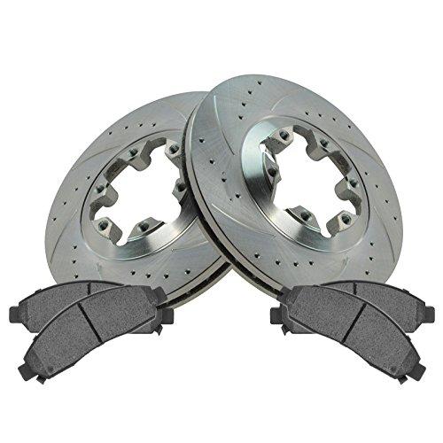 Disc Brake Rotor Drilled & Slotted Zinc Coated & Posi Ceramic Pad Set for Chevy Colorado GMC Canyon Isuzu i-290