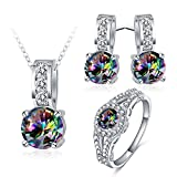 Daesar Silver Plated Earrings Necklace Ring Jewelry Set for Women Colorful Cubic Zirconia Ring Size 7
