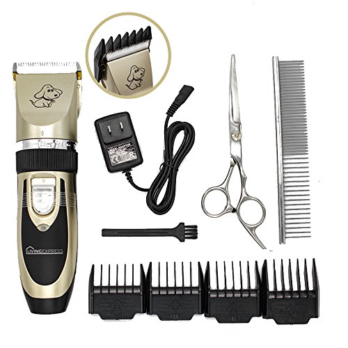 Living Express Low Noise Rechargeable Cordless Pet Dogs and Cats Electric Clippers Grooming Trimming Kit Set Included shears and comb brush,Best Long Hair Trimmer