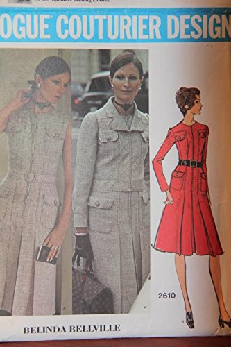 (Vintage Vogue Couturier Design Pattern 2610 Size 14 - Misses' Dress And Jacket - Belinda Bellville)