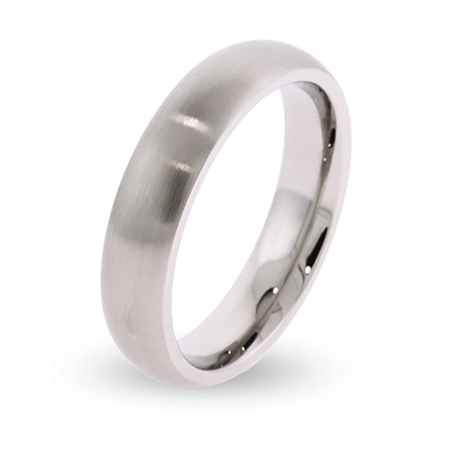 novelty more c stainless steel wedding band 5mm Brushed Stainless Steel Wedding Band