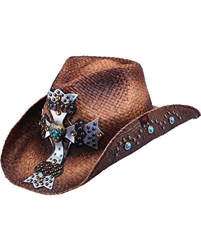 Peter Grimm Ltd Women's Mischa Embellished Cross Straw Cowgirl Hat Brown One Size