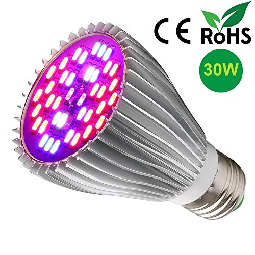 LED Grow Light Bulb,30W Full Spectrum Grow Bulbs for Indoor Plants Hydroponic,Plant Lamp for Greenhouse Organic Succulent Flowers Tobacco Vegetable Seedling(E26/E27) (30W)