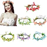 6Pcs Adjustable Flower Crown Garland Wreath Design Floral Headbands Headpiece for Women Girls Party Wedding Beach Festival
