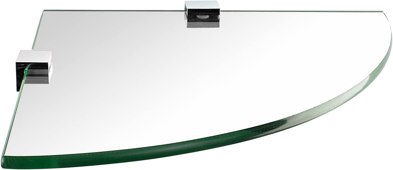 Mount-It! Corner Glass Shelf for Bathroom, Shower, Bedroom and Closets, Wall Mounted 8mm Thick Tempered Glass, 9.75 Inch