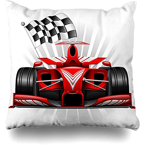 Throw Pillow Cover Pillows Cases Speedy Grand Red Race Car Checkered View Abstract Prix Front Track Speed Monaco On Home Decor Design Square 18 x 18 Inch Zippered Cushion Case ()