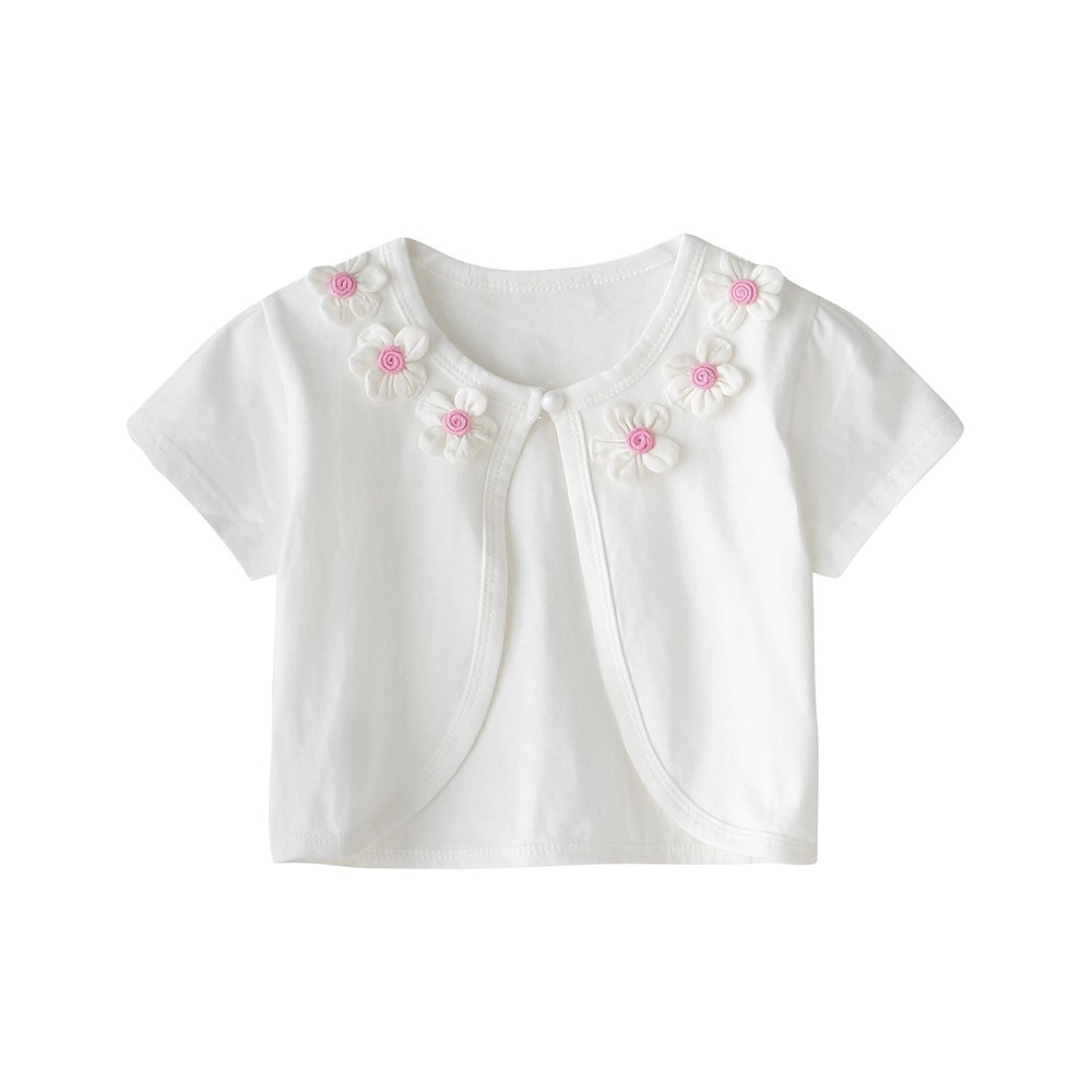 CHENXIN Girls Knit White Short Sleeve Bolero Cardigan Shrug (White1, 150/7-8T)