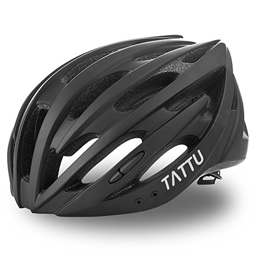 TATTU Ultralight Bike Helmet for Adult and Child with Detachable Visor, Airflow Cycling Helmet for Road Cyclist, Mountain Biker and Urban Commuter - Black M/L