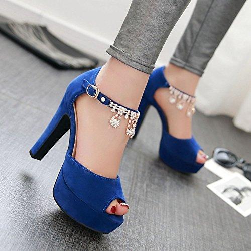 ZHANGJIA Boquilla de Peces Sexy, Sandalias de Tacón Alto, Dulce Moda, Diamante, Rugosa y Zapatos de Princesa, Zapatos de Mujer. azul