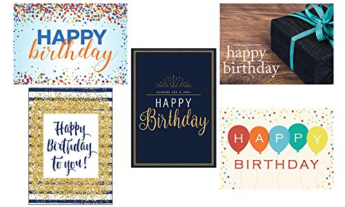 Birthday Greeting Card Assortment - VP1702. Business Greeting Cards Featuring Five Different Birthday Cards. Box Set Has 25 Greeting Cards and 26 Bright White Envelopes. (Bulk Birthday Business Cards)