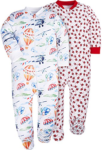 Baby Girls Bodysuits Footies 2-Pack 100% Cotton with Non-Slipping Sole (2-Pack Beetle/Hoot Balloon, 0-3 Months)