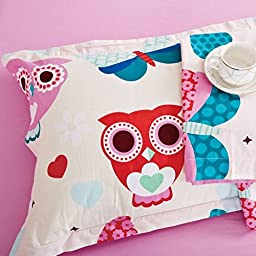 MakeTop Owls Butterfly White and Pink Kids Girls Bedding Set (Full, 5pc with comforter)