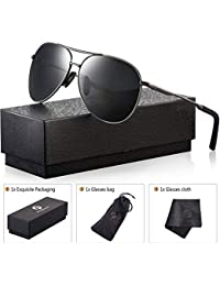 Polarized Aviator Sunglasses for Men - Feirdio Metal...