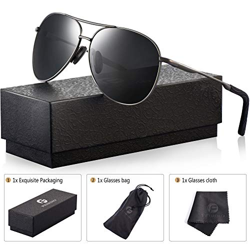Polarized Aviator Sunglasses for Men - Feirdio Metal Frame Sports UV 400 Protection Mens Unisex Sunglasses 2261 (black/Gun, 2.36) by Feirdio