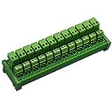 Electronics-Salon DIN Rail Mount Pluggable 12x2 Position 10A/300V Screw Terminal Block Distribution Module. (Top Wire Connects)