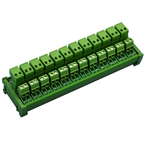 Electronics-Salon DIN Rail Mount Pluggable 12x2 Position 10A / 300V Screw Terminal Block Distribution Module. (Top Wire Connects)