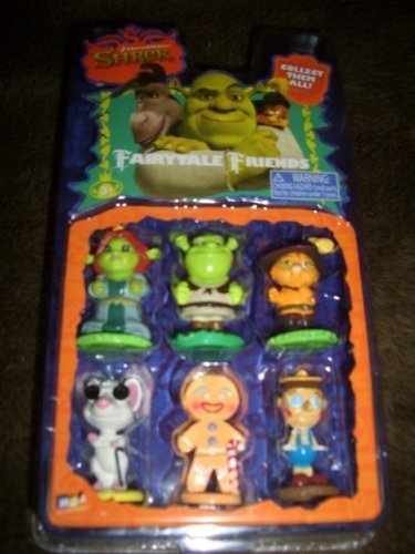 Shrek Fairytale Friends Figurine Set with Princess Fiona, Shrek, Puss N Boots, Mouse, Gingy, Pinocchio