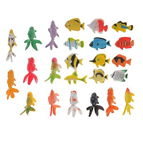 MonkeyJack 24Pcs Plastic Tropical Angel Fish Goldfish Sea Animals Figure Model Kids Toy (Kids Angel Fish)