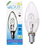 10 x Opus 28w = 40w Candle SES E14 Small Screw Cap Long Life Clear Eco Halogen Light Bulbs Dimmable Energy Saving Lamps Pack