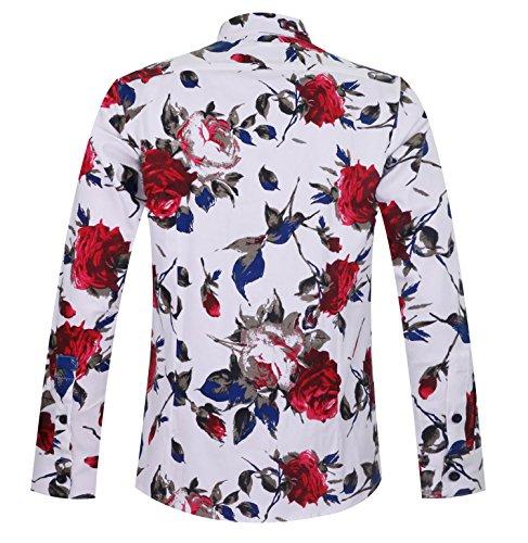 100 Aptro Casual Lunga Camicia Uomo 1925 Manica Floreale Cotone A 7SvqaBx