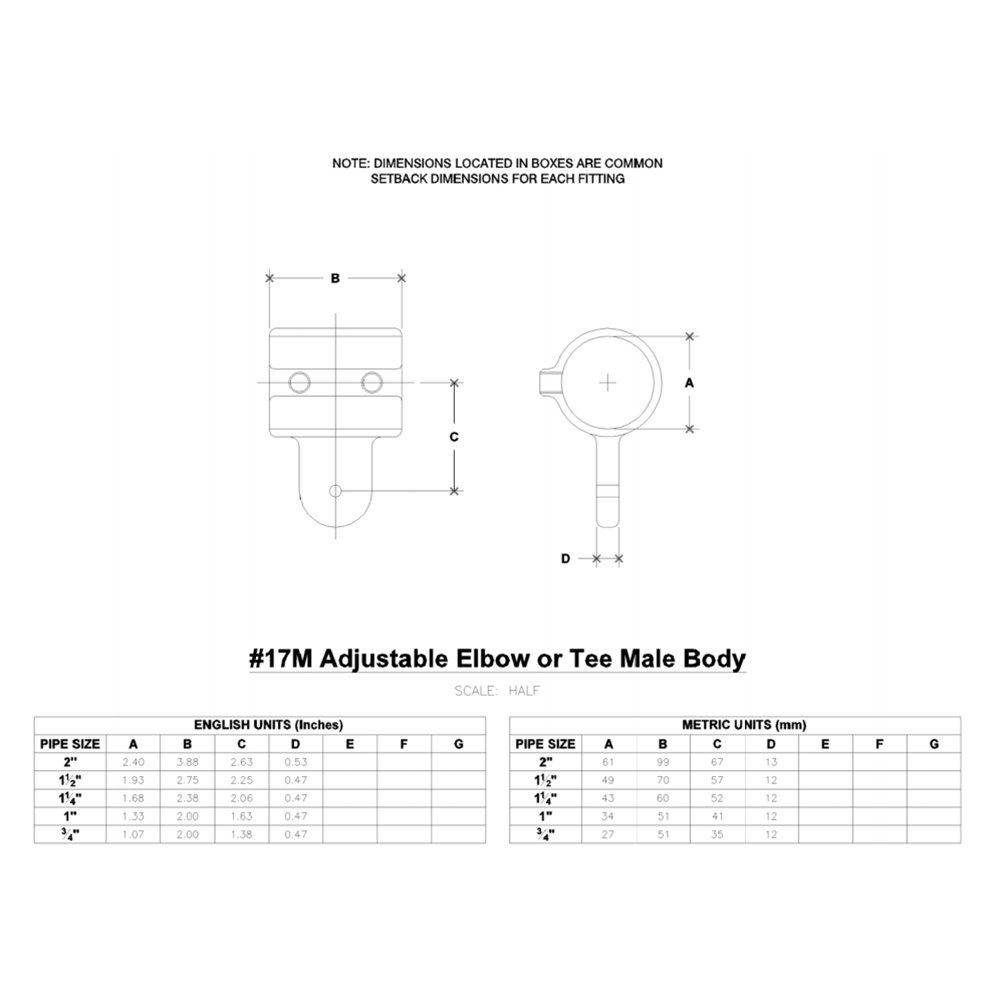 Hollaender 17M-7 Adj. Elbow or Tee Male Body Aluminum Magnesium 1-1/4'' IPS