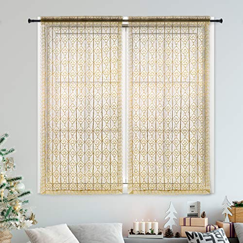 DOKOT French Country Victorian Vintage Crochet Tie-Up Window Curtain Panel 100% Linen Cotton (33