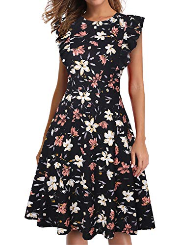 IHOT Women's Vintage Ruffle Floral Flared A Line Swing Casual Cocktail Party Dresses Black Pink (Womens Black And Pink Dresses)