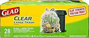 Glad Clear Recycling Drawstring Large Trash Bags, Clear, 30 Gallon, 28 Count