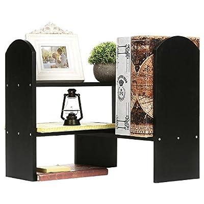 Adjustable Wood Office Desktop Organizer Shelf Rack, Tabletop Bookcase, Black