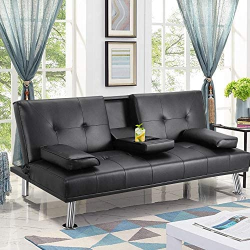 MOOSENG Faux Leather Fold Up and Down Futon Sets Black Convertible Sofa Bed with Armrest Recliner Couch Home Furniture