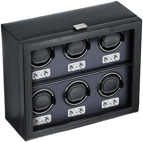 WOLF 270702 Heritage Six Piece Watch Winder with Cover, Black