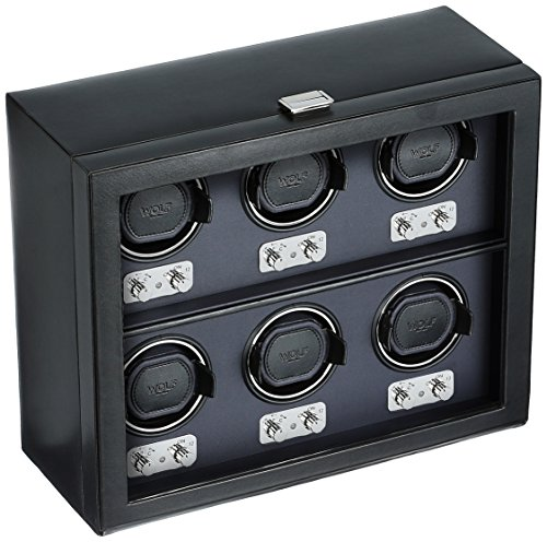 WOLF 270702 Heritage 6 Piece Watch Winder with Cover, Black by WOLF