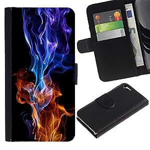 For Apple iPhone 5 / iPhone 5S,S-type® Red Blue Flame Burning Black Vibrant - Dibujo PU billetera de cuero Funda Case Caso de la piel de la bolsa protectora