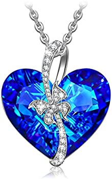 Qianse Stay for Love Bermuda Blue Swarovski Crystals Necklace